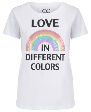 Love Rainbow sequin embroidered T-shirt QUANTUM COURAGE
