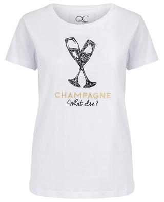 Champagne What else embroidered slogan T-shirt QUANTUM COURAGE
