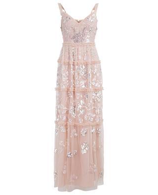Gerüschtes Kleid mit Stickereien Floral Gloss NEEDLE &THREAD