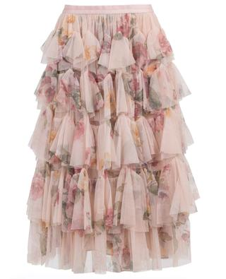 Venetian Rose ruffled floral tulle skirt NEEDLE &THREAD