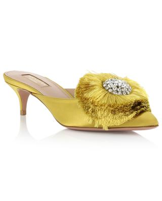 Crystal Lotus satin and leather mules AQUAZZURA