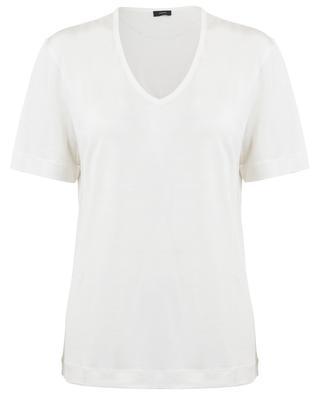 T-shirt à col V en jersey de soie JOSEPH