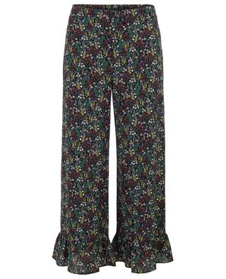Safran wide-leg floral trousers with ruffles TOUPY