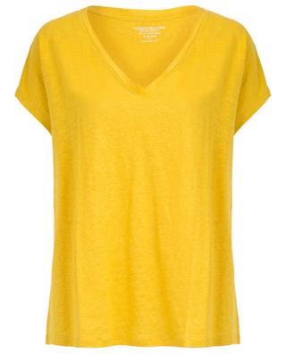 Loose linen stretch V-neck T-shirt MAJESTIC FILATURES