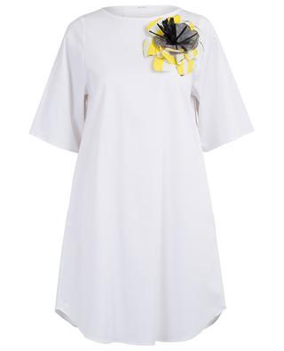 Robe trapèze en gabardine avec broche fleur THE SHIRT