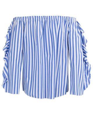Gestreifte schulterfreie Bluse mit Rüschen THE SHIRT