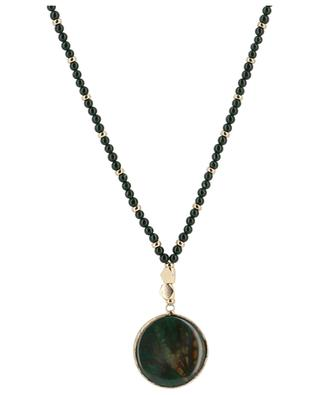 Sera long golden metal and agate necklace BCHARMD