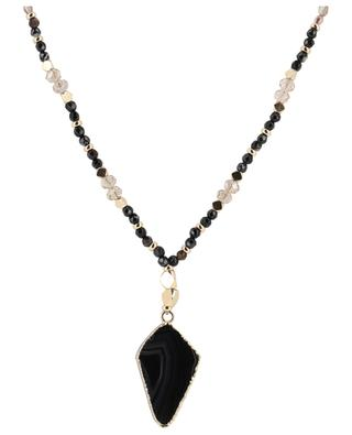 Streep long golden metal and agate necklace BCHARMD