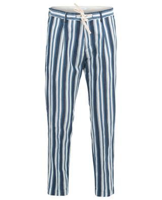 Pantalon rayé en coton et lin PAOLO PECORA