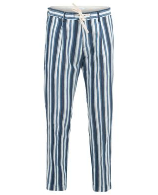Striped cotton and linen trousers PAOLO PECORA