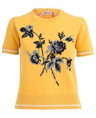 Pull jacquard à manches courtes Floral Intarsia N°21
