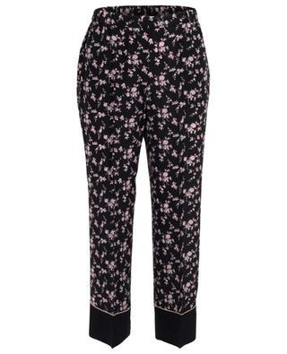Pantalon raccourci en soie fleurie N°21