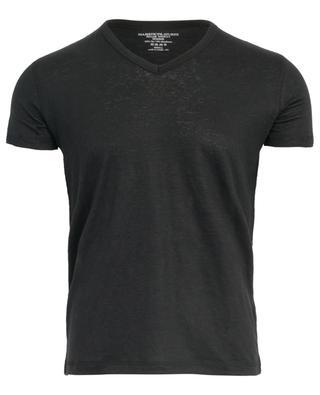 Linen stretch V-neck T-shirt MAJESTIC FILATURES