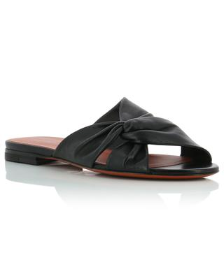 Flat leather mules with twisted straps SANTONI