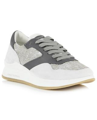 Derby glittering leather and suede sneakers CRIME