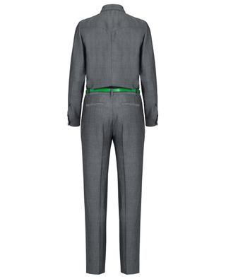 Wool blend jump suit with leather belt BARBARA BUI