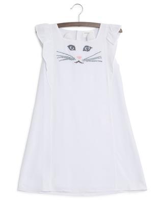 Kleid aus Viskose mit Katzenstickerei Lola CHARABIA