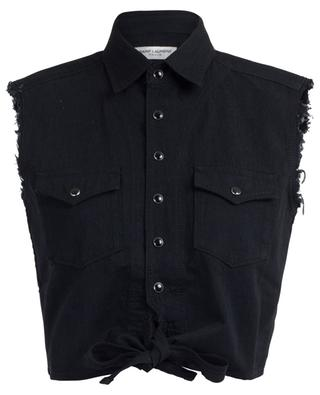 Chemise raccourcie sans manches en denim SAINT LAURENT PARIS