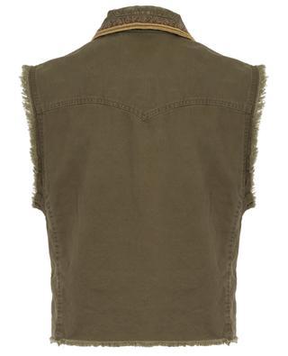 Veste sans manches en gabardine à galons dorés SAINT LAURENT PARIS