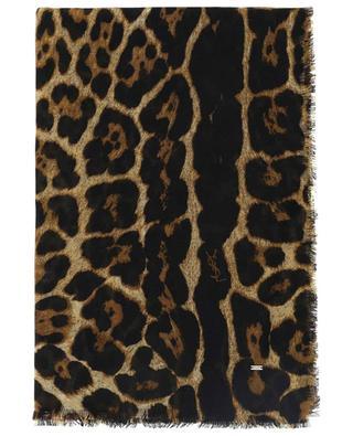 Foulard imprimé léopard en cachemire et soie SAINT LAURENT PARIS