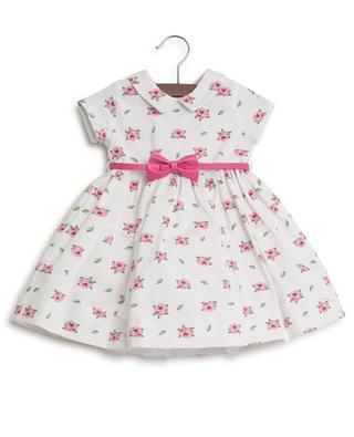 Rose print piquéd cotton and tulle dress MONNALISA