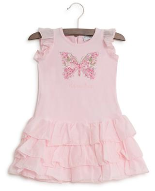 Butterly embroidered cotton dress MONNALISA
