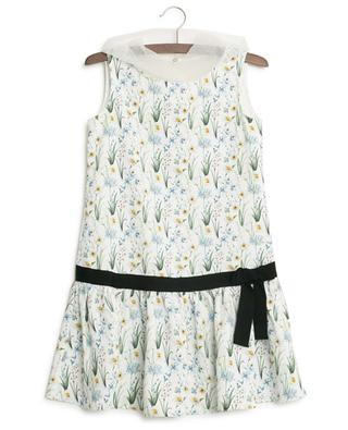 Floral print dress with tulle hood MONNALISA