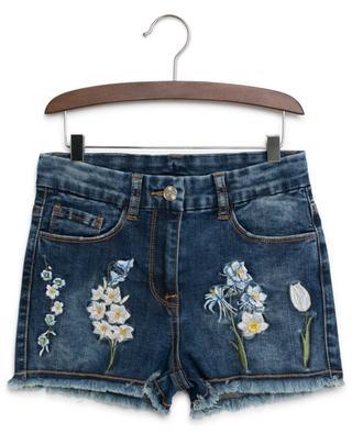 Short en jean brodé de fleurs MONNALISA