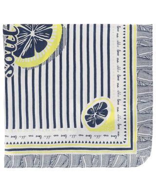 Lemon printed and pompoms adorned scarf IKKS JUNIOR