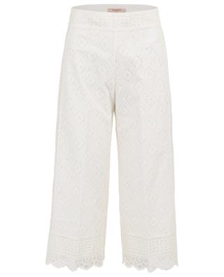 Cropped wide-leg broderie anglaise trousers TWINSET