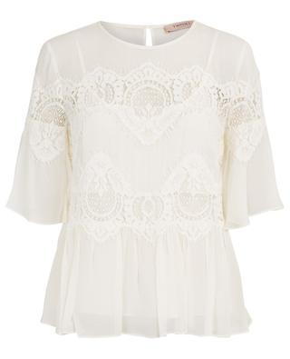 Viscose blouse with lace TWINSET