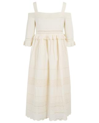 Long cotton dress with broderie anglaise TWINSET