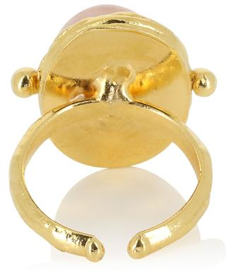 Verstellbarer Ring mit Rosenquarz Petite Ovale SYLVIA TOLEDANO