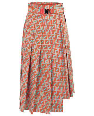 Asymmetric cotton popeline pleated skirt FENDI
