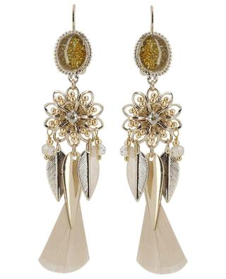 Alizia feather embellished ear danglers SATELLITE