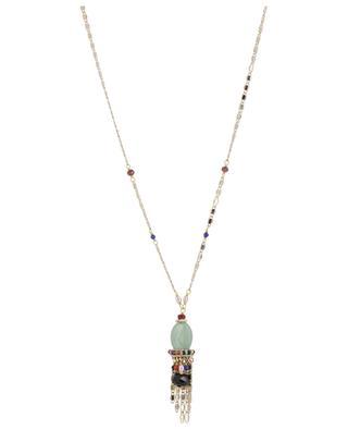 Persane aventurine embellished golden necklace SATELLITE