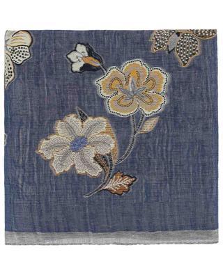 Foulard fleuri et lin et soie mélangés ETRO