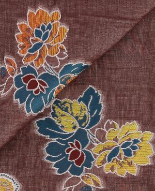 Foulard fleuri en lin et soie mélangés ETRO