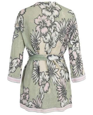 Floral printed linen cardigan with belt PRINCESS
