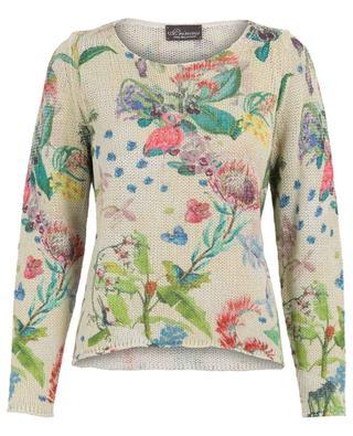 Flower print cotton and linen jumper PRINCESS