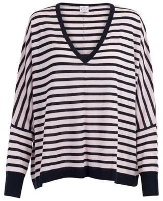 Cashmere and SeaCell striped oversize jumper FTC CASHMERE