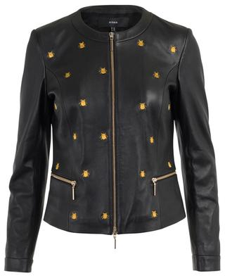 Allure embroidered bees leather jacket ARMA