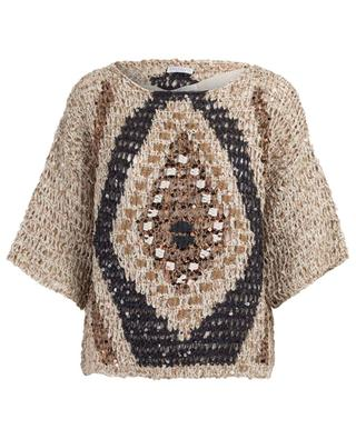 Diamond pattern raffia jumper with top BRUNELLO CUCINELLI