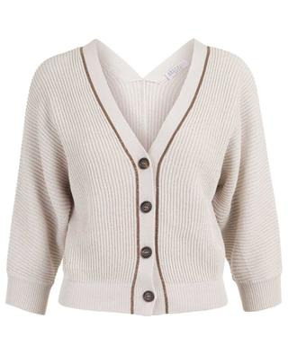 Short cotton rib knit cardigan with embroideries BRUNELLO CUCINELLI