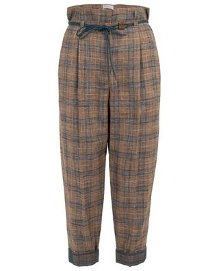 Cropped turn-up paperbag trousers with checks BRUNELLO CUCINELLI