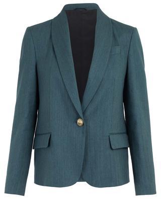 Blazer décontracté en lin et coton motif chevron BRUNELLO CUCINELLI