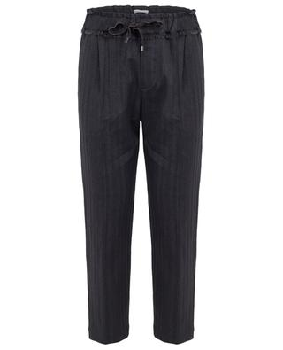 Shiny Ethnic Fringe chevron pattern cigarette trousers BRUNELLO CUCINELLI