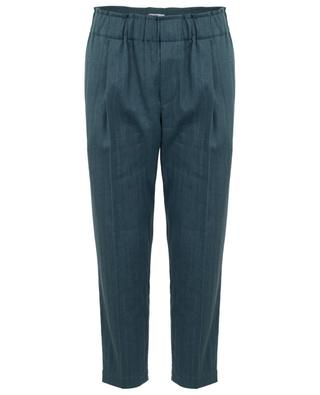 Cropped linen and cotton trousers with chevron pattern BRUNELLO CUCINELLI