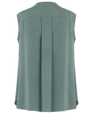 Sleeveless silk top with embroidered front bib BRUNELLO CUCINELLI