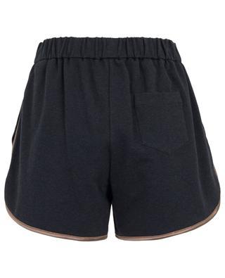 Shiny Satin Trim embroidered sweat shorts BRUNELLO CUCINELLI